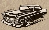 ������, ������: Muscle Car Abstract Vintage Sketch 1