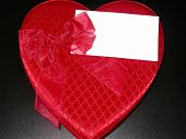 image of valentine candy  - a box of chocolates with a blank note card - JPG