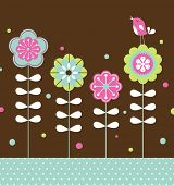 vector bird and flower background design