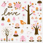 vector birds and trees set sticker