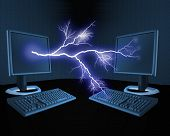 An illustration of a bolt of lightning between computers