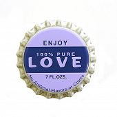 A bottlecap with a theme of love