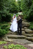 foto of wedding couple  - A beautiful bride and handsome groom at wedding - JPG
