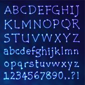 stock photo of punctuation  - Handwritten Vector Neon Light Alphabets - JPG