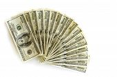 stock photo of one hundred dollar bill  - fan shaped stack of several hundred dollar bills - JPG
