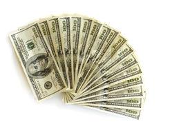 pic of one hundred dollar bill  - fan shaped stack of several hundred dollar bills - JPG