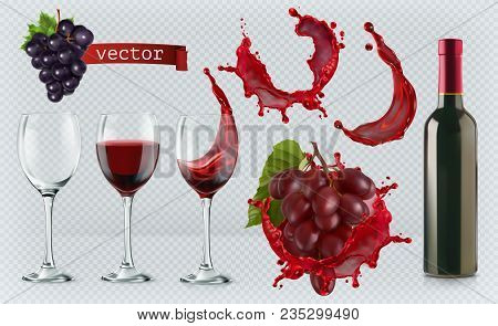 poster of Red Wine. Glasses, Bottle, Splash, Grapes. 3d Realistic Vector Icon Set