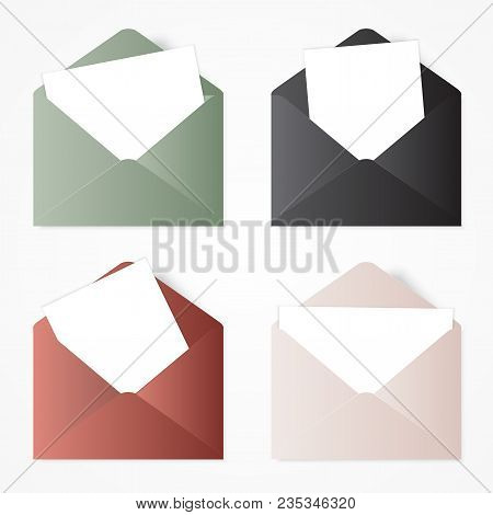 poster of Set Opened Envelope . Illustration With White Envelopes.