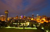 foto of knoxville tennessee  - View of Knoxville Tennessee skyline long exposure at night - JPG