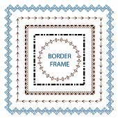 Set Border And Scribble Design Element. Hand Drawn Vector Line. Geometric Vintage Fashion Pattern. D poster