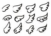 Angel Wings Sketch Set. Hand Drawn Collection Of Wings Isolated On White Background. Cartoon Wings V poster