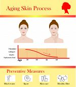 Aging Skin Process And Preventive Tipps, Aged Changes Vector Illustration poster