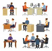 Business People Vector Professional Workers Sitting At Table With Laptop Or Computer In Office Illus poster