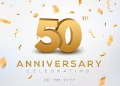 50 Anniversary Gold Numbers With Golden Confetti. Celebration 50th Anniversary Event Party Template. poster