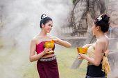 Laos Girls Splashing Water Songkran Tradition Festival Thai.asia Girl Wearing A National Laos Costum poster
