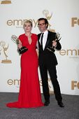 LOS ANGELES - SEP 18:  Kate Winslet, Guy Pearce in the Press Room at the 63rd Primetime Emmy Awards