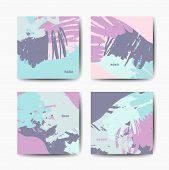 Set Of Vector Ink Brush Patterns, Modern Grunge Brush Design Templates, Invitation, Banner, Art Vect poster