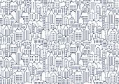 City Scape Seamless Pattern. Thin Line City Background. Downtown Landscape With High Skyscrapers. Pa poster