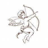 Drawing Of Adorable Cupid With Bow Aiming Or Shooting Arrow Isolated On White Background. God Of Rom poster