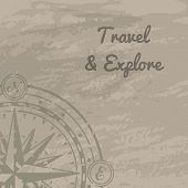 World Discovery Concept With Compass Rose. Geography Research, Worldwide Traveling And Nature Explor poster