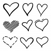 Set Of Outline Hand Drawn Heart Icon.hand Drawn Doodle Grunge Hearts Vector Set. Rough Marker Hearts poster