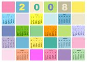 Colorful Calendar For 2008