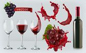 Red Wine. Glasses, Bottle, Splash, Grapes. 3d Realistic Vector Icon Set poster