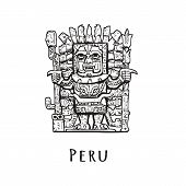 Stone Statue Of Peru. Vector Illustration Of A Tourist Attraction. The Symbol Of Peru Is Sketch. poster