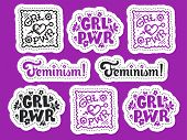 Set Of Feminism Stickers. Feminism Symbols Vector Illustration Design. Girl Power Lettering Quote. R poster