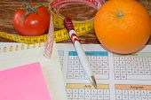 Citrus Fruits, Tomato. Measure Tape And Fresh Fruit In The Background. Healthy Lifestyle Diet With F poster