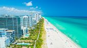 Aerial view of South Beach, Miami Beach. Florida. Atlantic Ocean. USA. poster