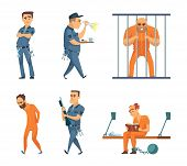 Characters Set Of Guards And Prisoners. Vector Police Security Guard And Character Prisoner Person I poster