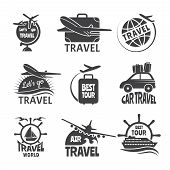 Vector Label Or Logos Forma Travelling Theme. Monochrome Pictures Of Airplanes. Illustration Of Trav poster