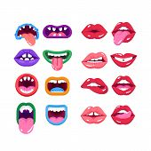 Set Of Comic Monster Mouth With Teeth, Realistic Human Woman Lips. Cartoon Monster Mouth With Emotio poster
