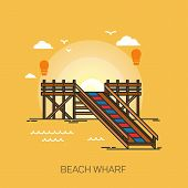 Wharf On Beach Or Pier At Sea, Wooden Dock At Ocean Or Footbridge At Sea, Pontoon At Harbor, Bridge  poster