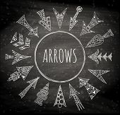 Vector Arrows Painted By Hand. Stylized Hand-drawn Pointer. Linear Geometric Arrows On A Chalkboard  poster