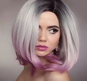 Ombre Bob Hairstyle Blonde Girl Portrait. Purple Makeup. Beautiful Hair Coloring Woman. Fashion Tren poster