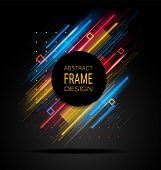 Vector Modern Frame With Geometric Neon Glowing Lines Isolated On Black Background. Art Graphics Wit poster