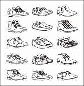 Shoes Icons Set. Footwear Icons Set. Set Of Shoes Icons In A Linear Style. Collection Of Shoes Picto poster
