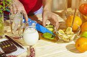 Detox. A Woman Is Preparing A Healthy Breakfast. Preparation Of A Healthy Breakfast. Sunny Morning. poster
