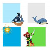 Pirate Treasure Vector Cards Adventure Sea Nautical Symbols Nautical Character Captain Sailor With S poster