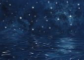 picture of starry sky  - An illustration of a starry night on the ocean - JPG