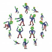 Zombie Poses Icons Set. Cartoon Illustration Of 16 Zombie Poses Vector Icons For Web poster