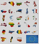 Collection Of Map And Flags Of The European Union Countries - Illustration, Mosaic Map With Flag Ins poster