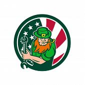 Icon Retro Style Illustration Of An Irish-american Mechanic Who Is A Leprechaun Mascot With United S poster