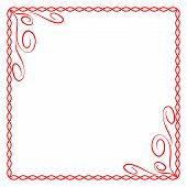 Frame Red. Colorful Framework Isolated On White Background. Decoration Chain Concept. Modern Art Sco poster