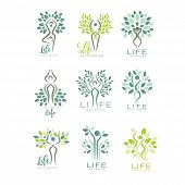 Healthy Life Logo Templates For Wellness Center, Spa Salon Or Yoga Studio. Harmony With Nature. Crea poster