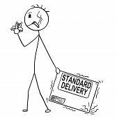 Cartoon Stick Man Drawing Conceptual Illustration Of Bad And Unmotivated Man Or Businessman Negligen poster