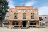 stock photo of gunfighter  - Saloon in an old American western town - JPG