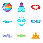 Water Occupation Icons Set. Cartoon Set Of 9 Water Occupation Vector Icons For Web Isolated On White poster